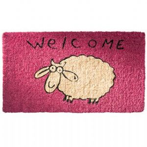 Doormat~ Bohemian Hippy Coconut Fibre Sheep Pink/Lime/Blue Doormat~ By Folio Gothic Hippy DM20/21/22